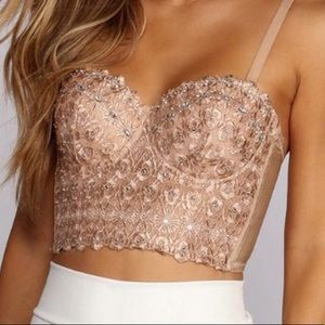 Pink sparkly bustier top. Super!!